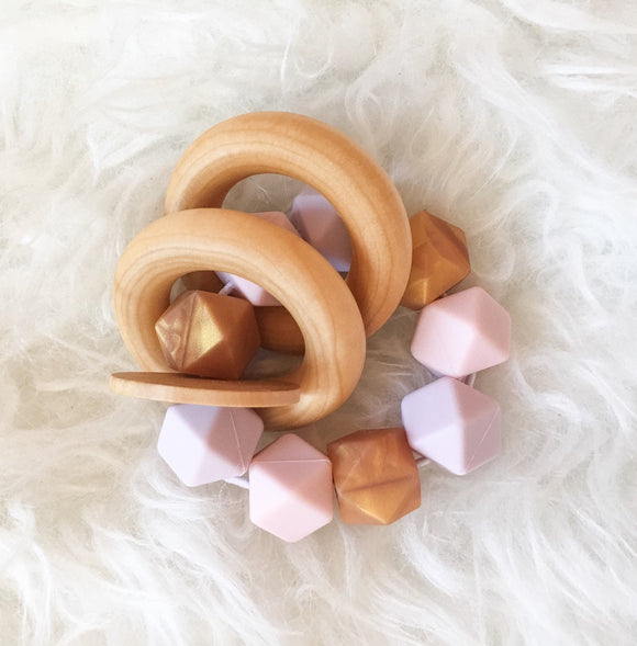 Pastel Glam Teether Rattle- Beautiful Wood and Silicone