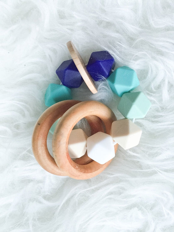 Blue Ombré Teether Rattle- Beautiful Wood and Silicone