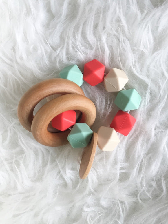Vintage Coral Teether Rattle- Beautiful Wood and Silicone