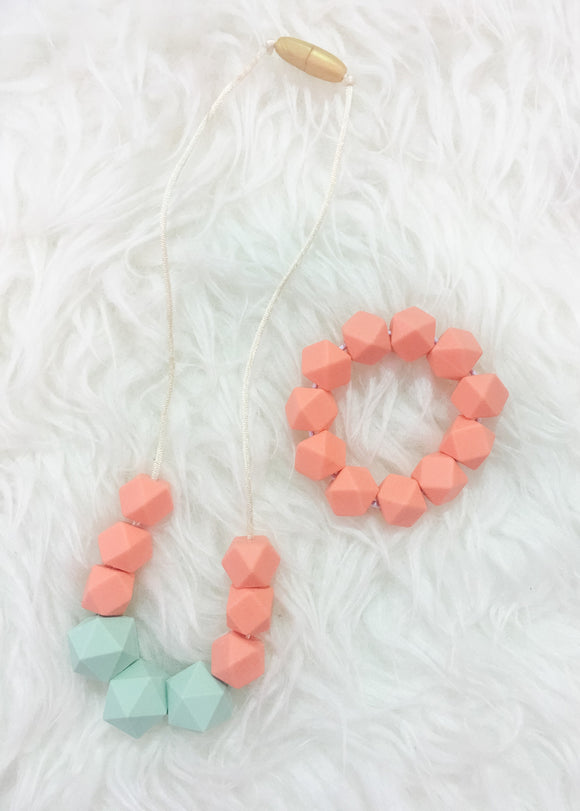 Mint-Salmon Sensory/Teething Necklace and Bracelet Set