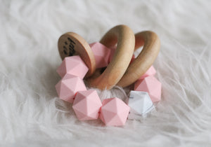 Marble and Pink Silicone Teether