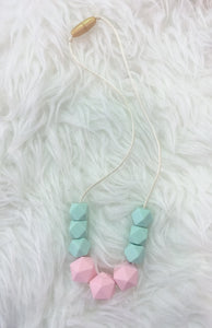 Mint-Pink Sensory/Teething Necklace