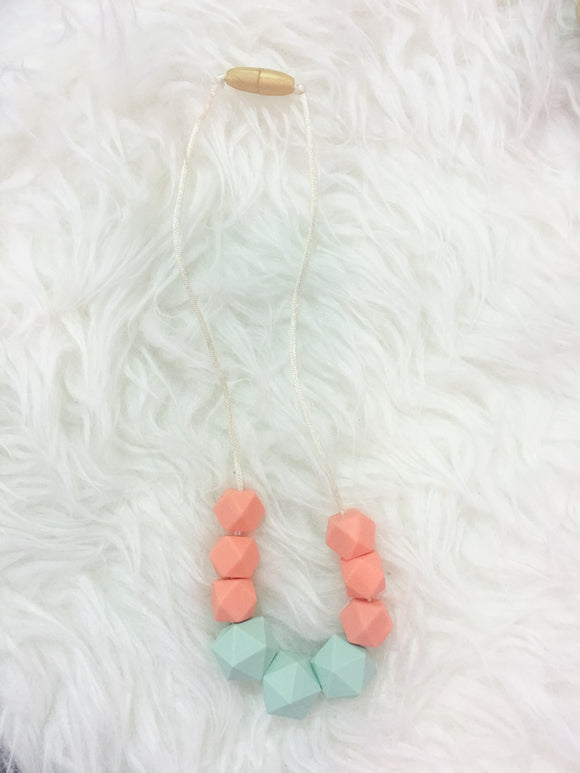 Mint-Salmon Sensory/Teething Necklace