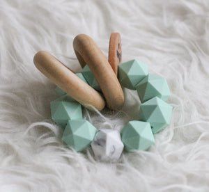 Mint and Marble Icosahedron Teether