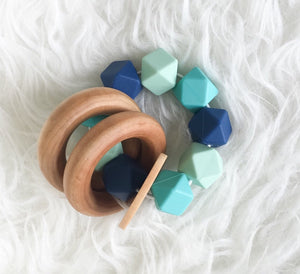 Teal and Navy Teether Rattle