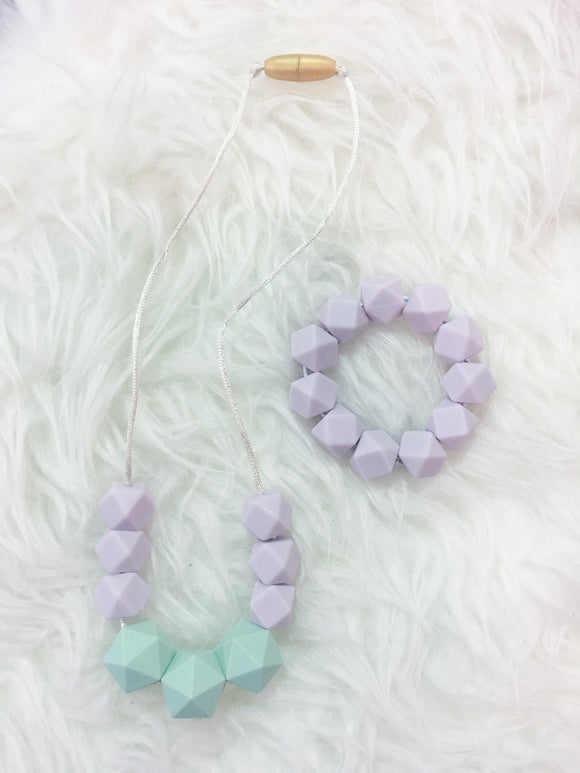 Mint-Lavender Sensory/Teething Necklace and Bracelet Set