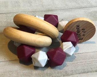 Maroon and Marble Teether Rattle