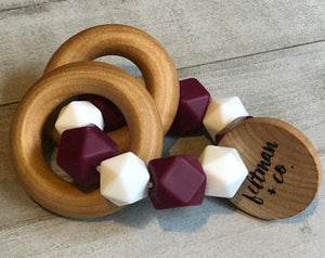 Maroon and White Teether Rattle