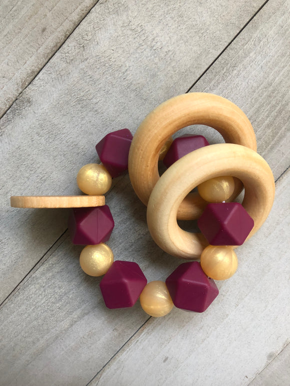 Golden Merlot Teether Rattle
