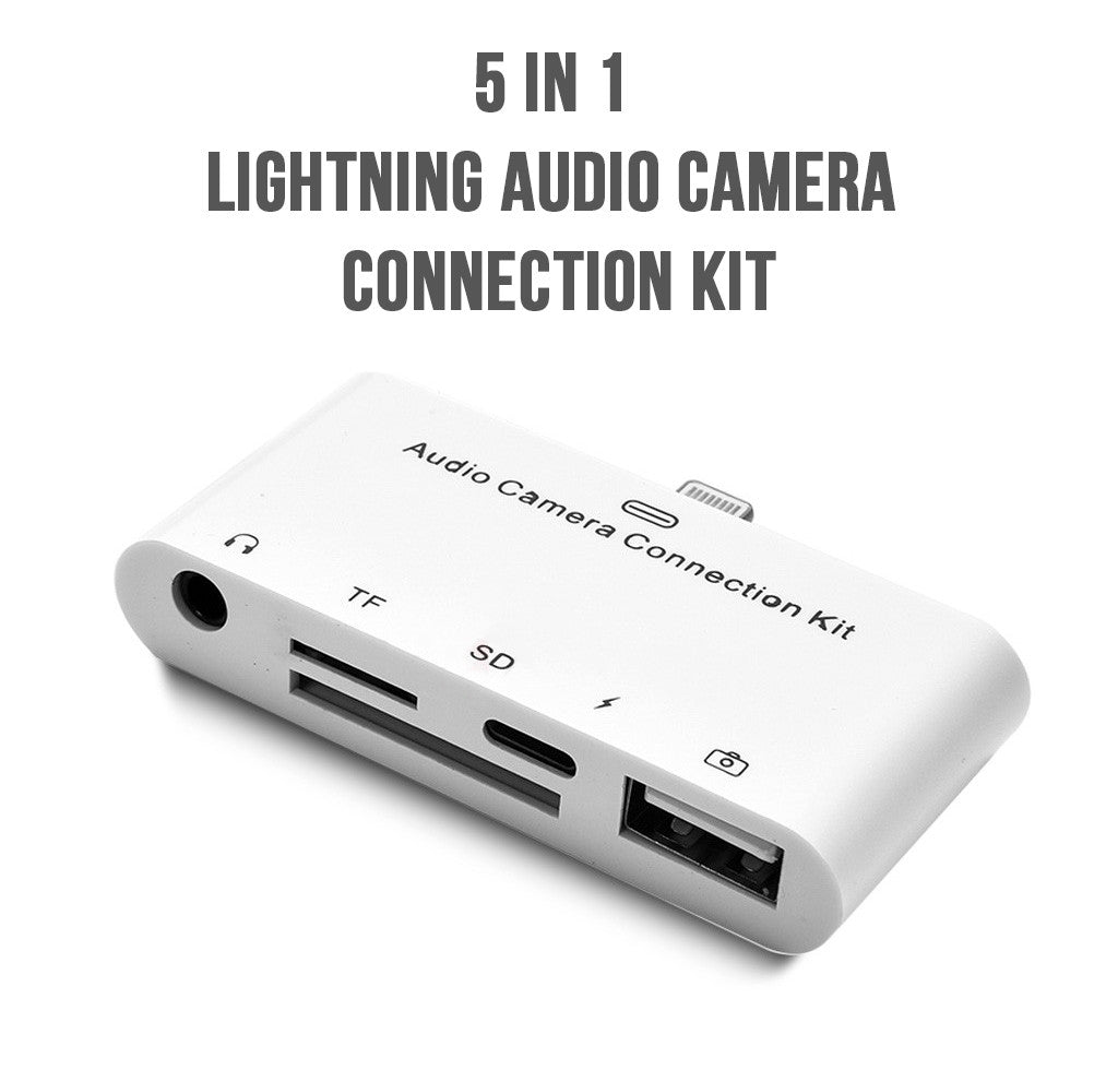 idrop 5 in 1 Lightning Audio Camera Connection Kit for iPhone/iPad ...