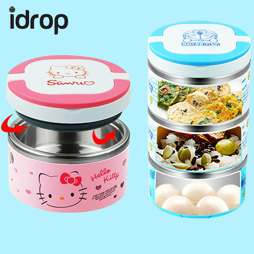 idrop Cute Cartoon 3 Layer High Quality Stainless Steel Lunch Box Random Design Sent