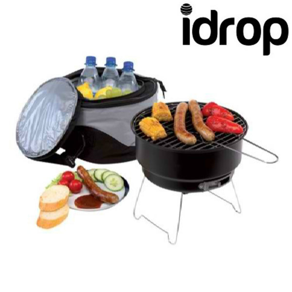 idrop Stainless Steel Outdoor Household BBQ Portable Charcoal Hammer Portable BBQ Grill with Shoulder Isothermal Bags
