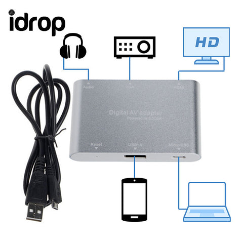 idrop USB MICRO+USB+RESET To HDMI/VGA+AV AUDIO DIGITAL ADAPTER For ANDROID Powered By EZCast