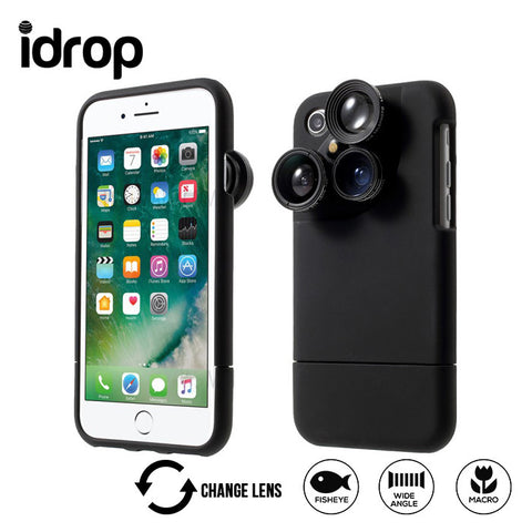 idrop 4 in 1 External Wide Telephoto Camera Lens Case for iPhone 6/6P/7/7P HE-099
