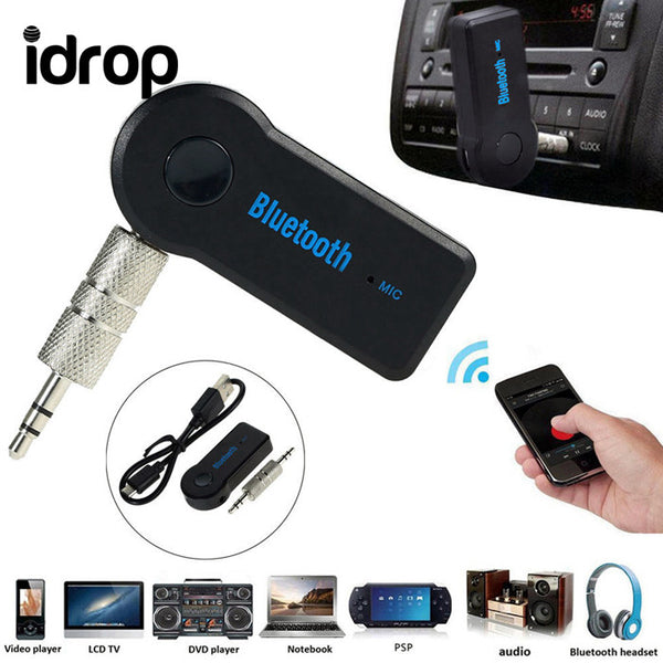 idrop Wireless Bluetooth 3.5mm AUX Audio Stereo Music Home Car Receiver Adapter Mic