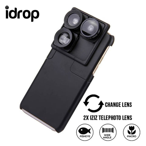 idrop 4 in 1 0.65X Wide Angle & 180 Degree Fish Eye Lens & 2X iZiZ Telephoto Lens & Phone Case Camera Lens Phone Case for iphone 6 / 6s / 6P / 6SP