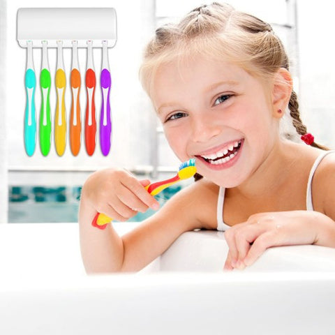 Wall Mount Bathroom 6 Hooks Toothbrush Spinbrush Rack Stand Holder Toothbrush Holder Family Sets