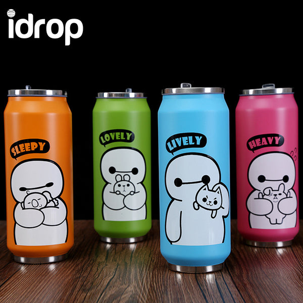 idrop Stainless Steel Portable Cans Cartoon Vacuum Cups 500ml [Send by randomly color]