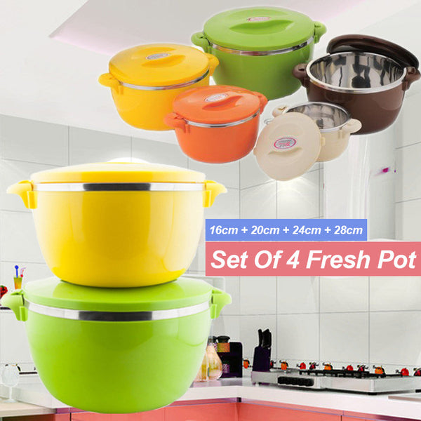Set Of 4 Stainless Steel Fresh Pot