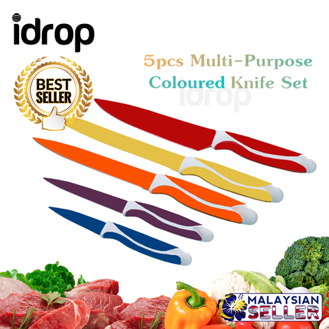 idrop 5 pieces Multipurpose Stainless Steel Colored Knife Cutlery Set
