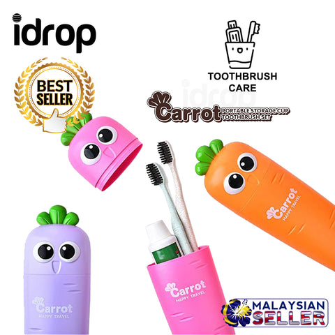 idrop Cute Carrot Portable Storage Cup Toothbrush Care Case Set