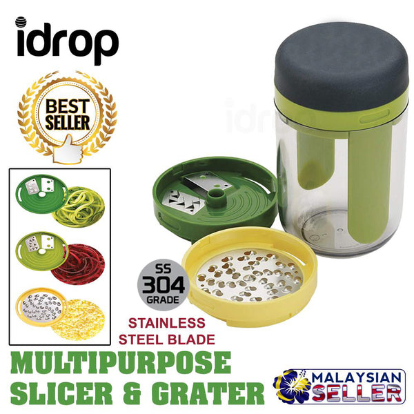 idrop 3 in 1 Multipurpose Handheld Spiralizer Food Slicer Grater