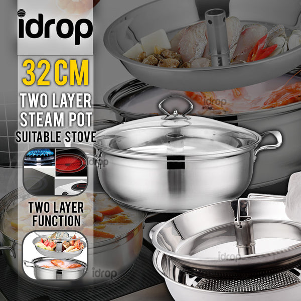 idrop 32cm Multifunction 2 Layer Stainless Steel Cookware Soup & Steam Pot