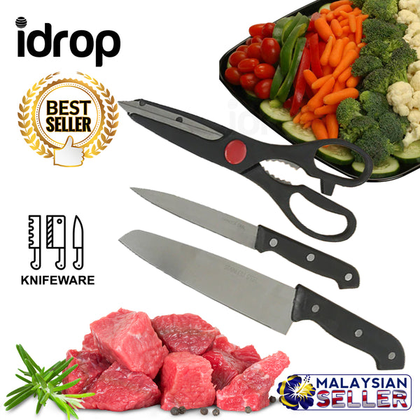 idrop Set of 3 Stainless Steel Kitchen Knives And Scissors Kitchen Tools