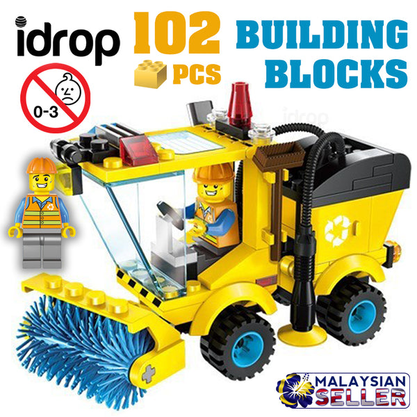 idrop ENLIGHTEN - 102 Pcs Cleaning Trolley Street Sweeper Building Block Brick Compatible with Lego [ 1101# ]
