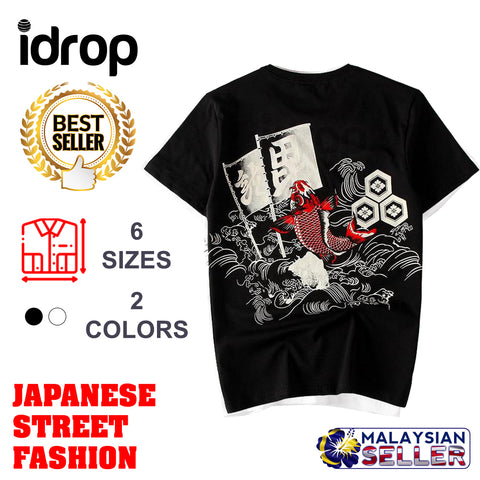 idrop TOLLO - Red Carp Painted Sukajan T-Shirt Japanese Street Fashion