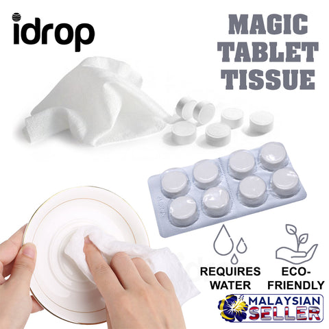 idrop Portable Magic Compressed Tablet Wet Napkin Tissue Suitable for Travel Outdoor [ 16 pcs / 32 pcs ]