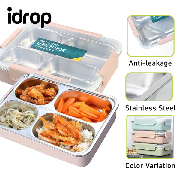 idrop Stainless Steel Four Compartment Lunch Box Food Storage  Container