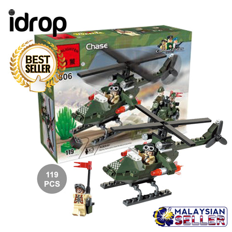 idrop 119 Pcs Helicopter Heli Warfare Green Creative Building Block Toy Set For Kids Children