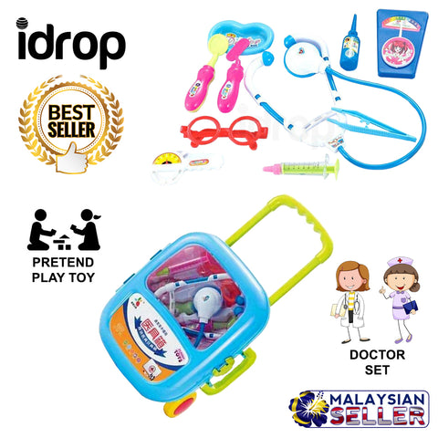 idrop Doctor Medicine Box Pretend Play Toy Set With Trolley For Kids Children