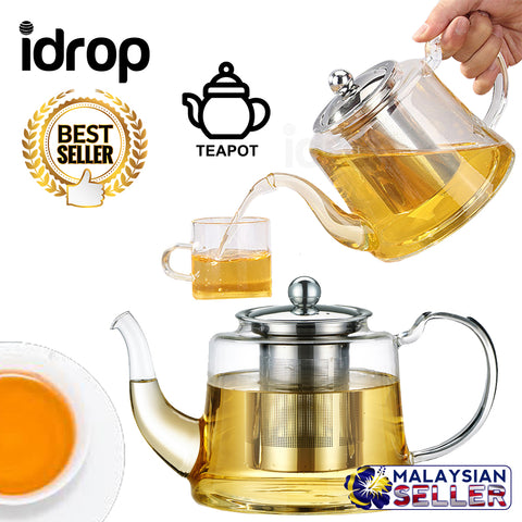 idrop 800 ml 1100 ml Thickened Heat Resistant Glass Teapot With Filter