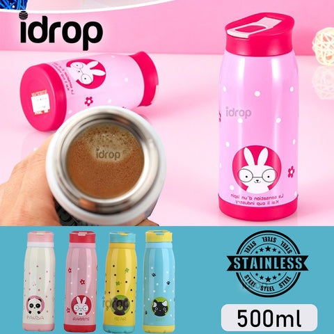 idrop Stainless Steel Portable Travel Cartoon Thermal Water Bottle [ 500ml ]