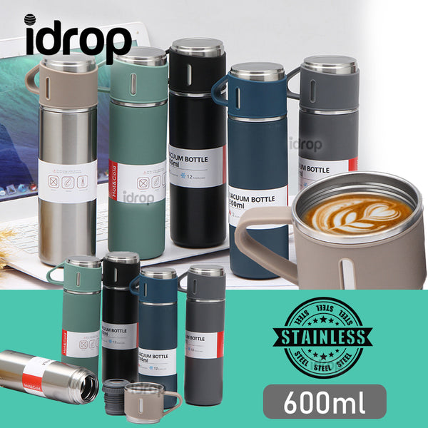 idrop Stainless Steel Portable Travel Sports Thermal Insulated Water Bottle with Lid Cup