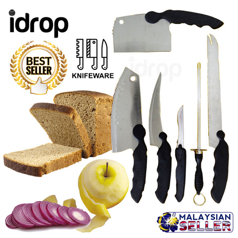 idrop 1 Set 6 Pcs Stainless Steel Knife Set with Knife Sharpener
