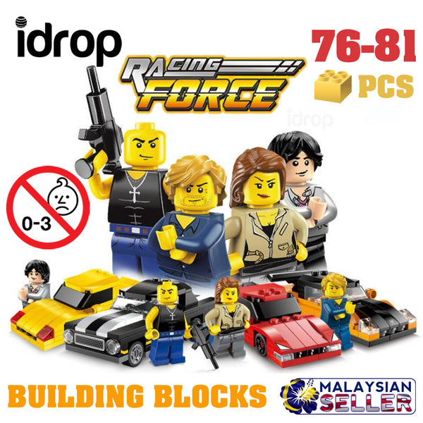 idrop ENLIGHTEN - 76-81 Pcs Fast & Furious Racing Force Car Building Blocks Compatible with Lego