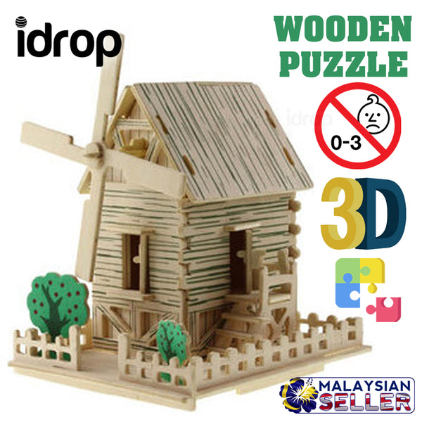 idrop 3D Wooden Plywood Puzzle Windmill House Construction Model [ DJ125# ]