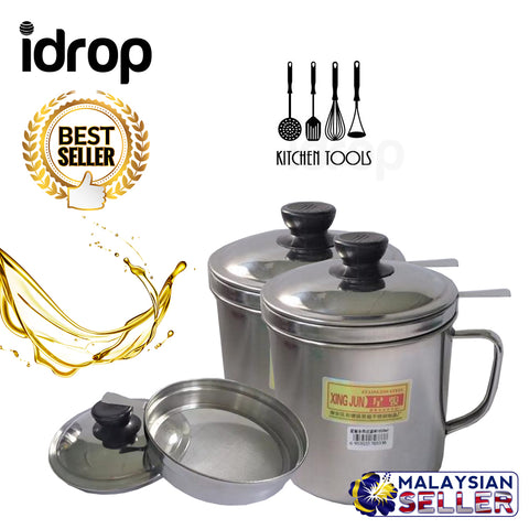 idrop 1800 ml 1.8L Xing Jun 304 Stainless Steel Oil Pot Container Kitchen Tools
