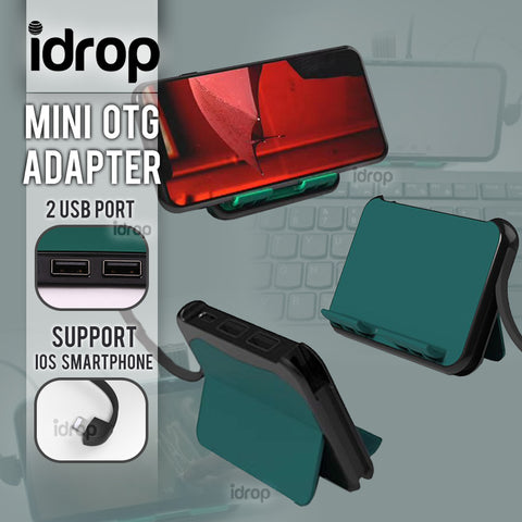 idrop Mini OTG Adapter With 2 USB Port for ios Smart Phone