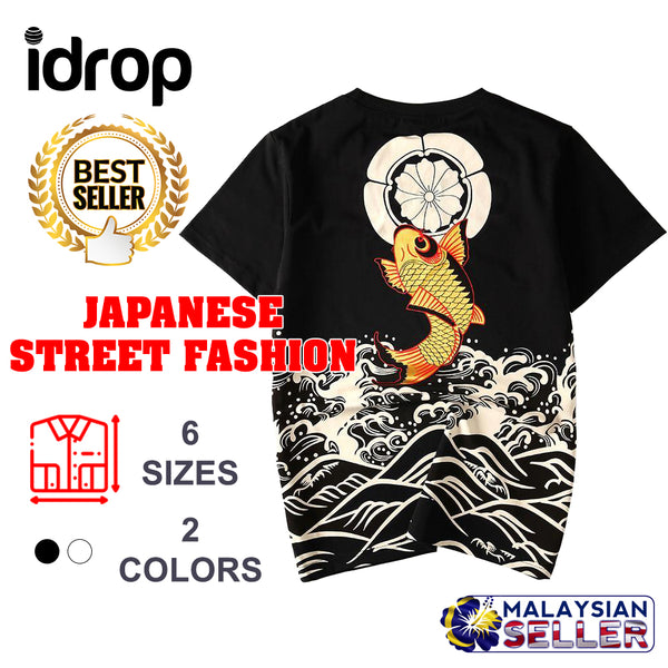 idrop TOLLO - Golden Koi Carp Painted T-Shirt Japanese Street Fashion