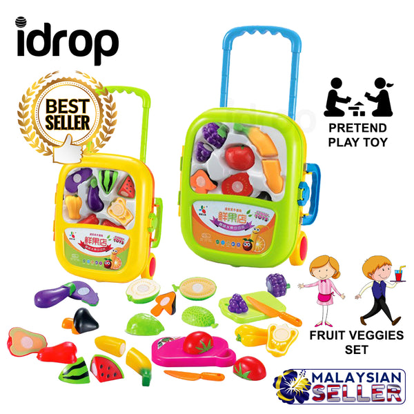 idrop Cutting Fruit Vegetable Veggies Toys Pretend Play Toy Set With Trolley For Kids Children