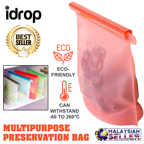 idrop Reusable Preservation Silicone Food Storage Bag Container for Freezer, Microwave, Vegetable, Meat, Snack