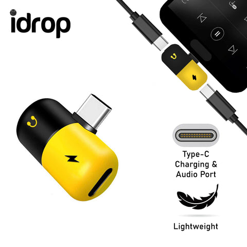 idrop 2 in 1 Dual USB Type C Splitter Adapter Phone Charger Audio Headphone Music