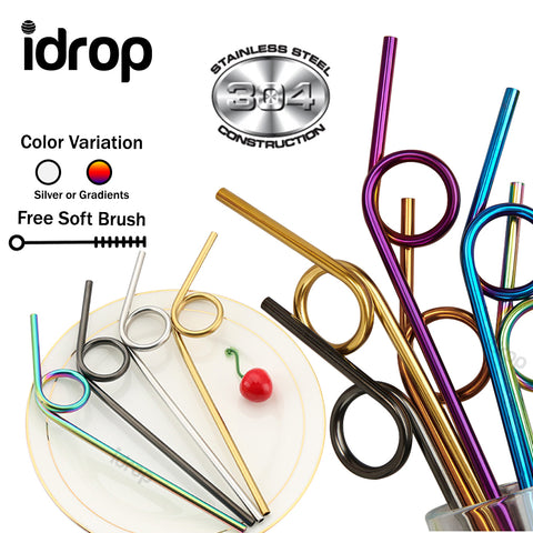 idrop Creative Reusable Stainless Steel Bent Drinking Straws with Soft Cleaning Brush