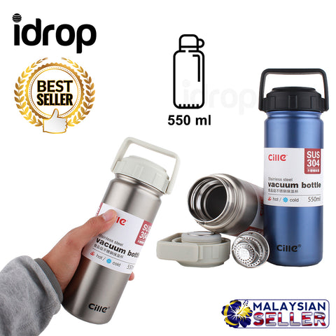 idrop 550 ml Stainless Steel Thermos Vacuum Heat Insulation Thermal Flask Water Bottle