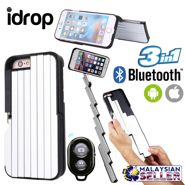 idrop 3 in 1 Extendable Protective Smartphone Case, Selfie Stick & Phone Stand for Apple iPhone