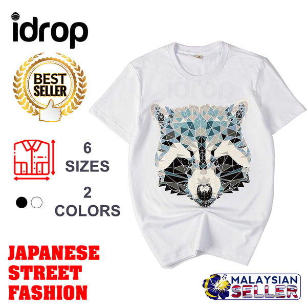 idrop TOLLO - Geometrical Tanuki Raccoon Painted Sukajan T-Shirt Japanese Street Fashion
